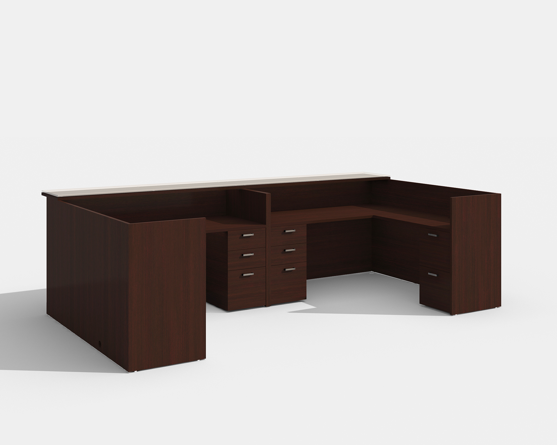 amber 2 person reception desk in mahogany