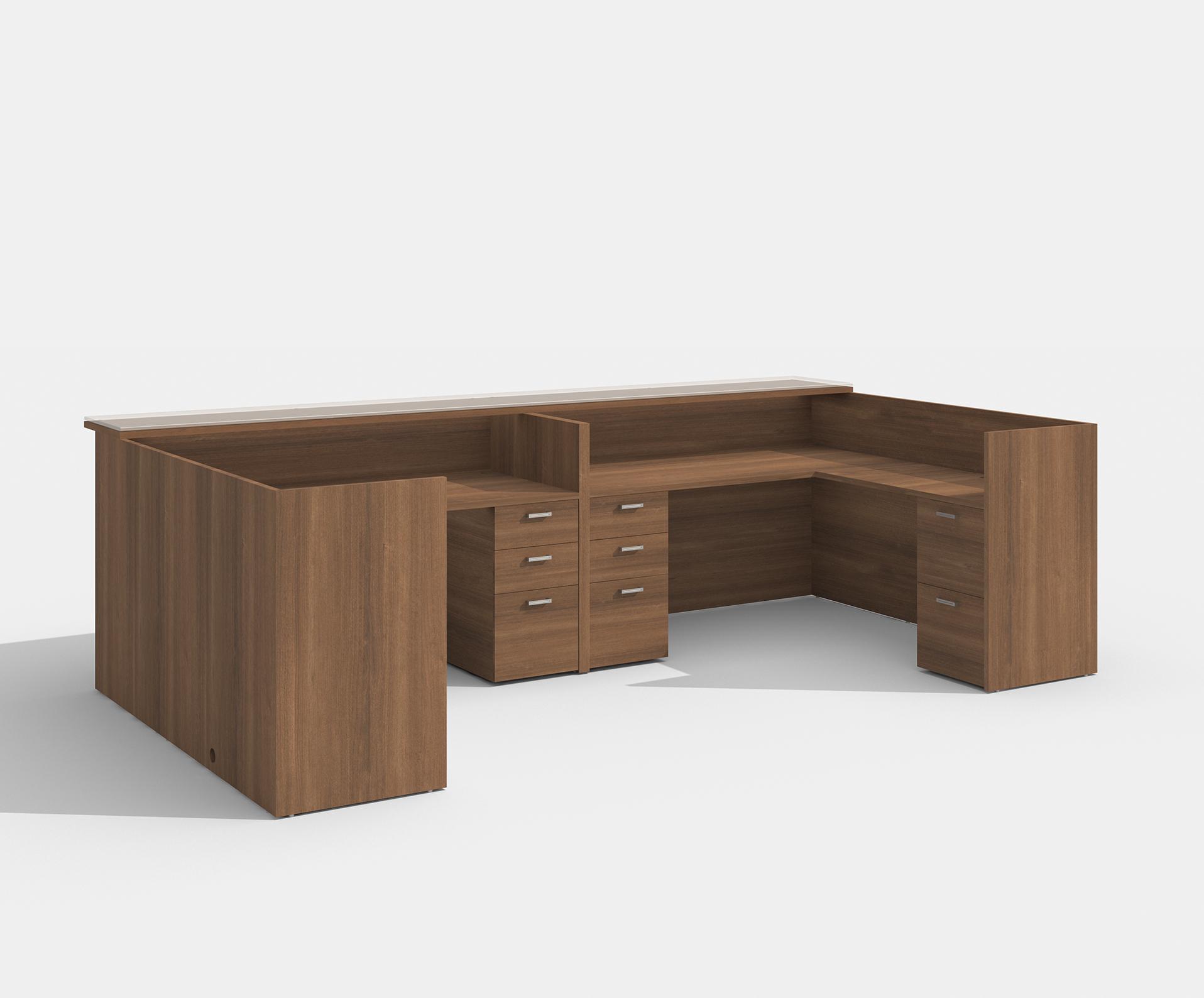 amber 2 person reception desk in walnut