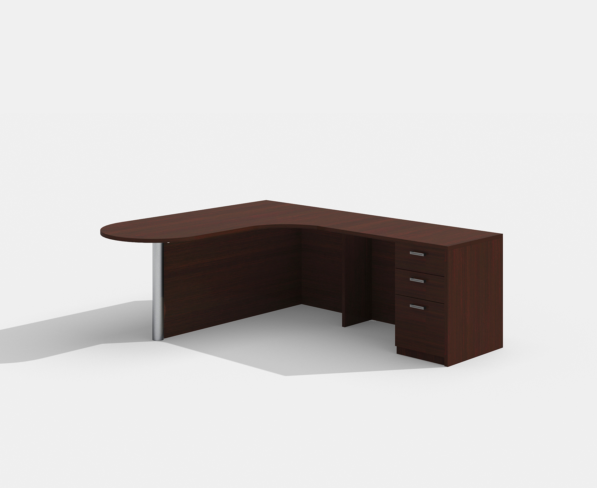 amber peninsula style l-shaped desk with mahogany finish
