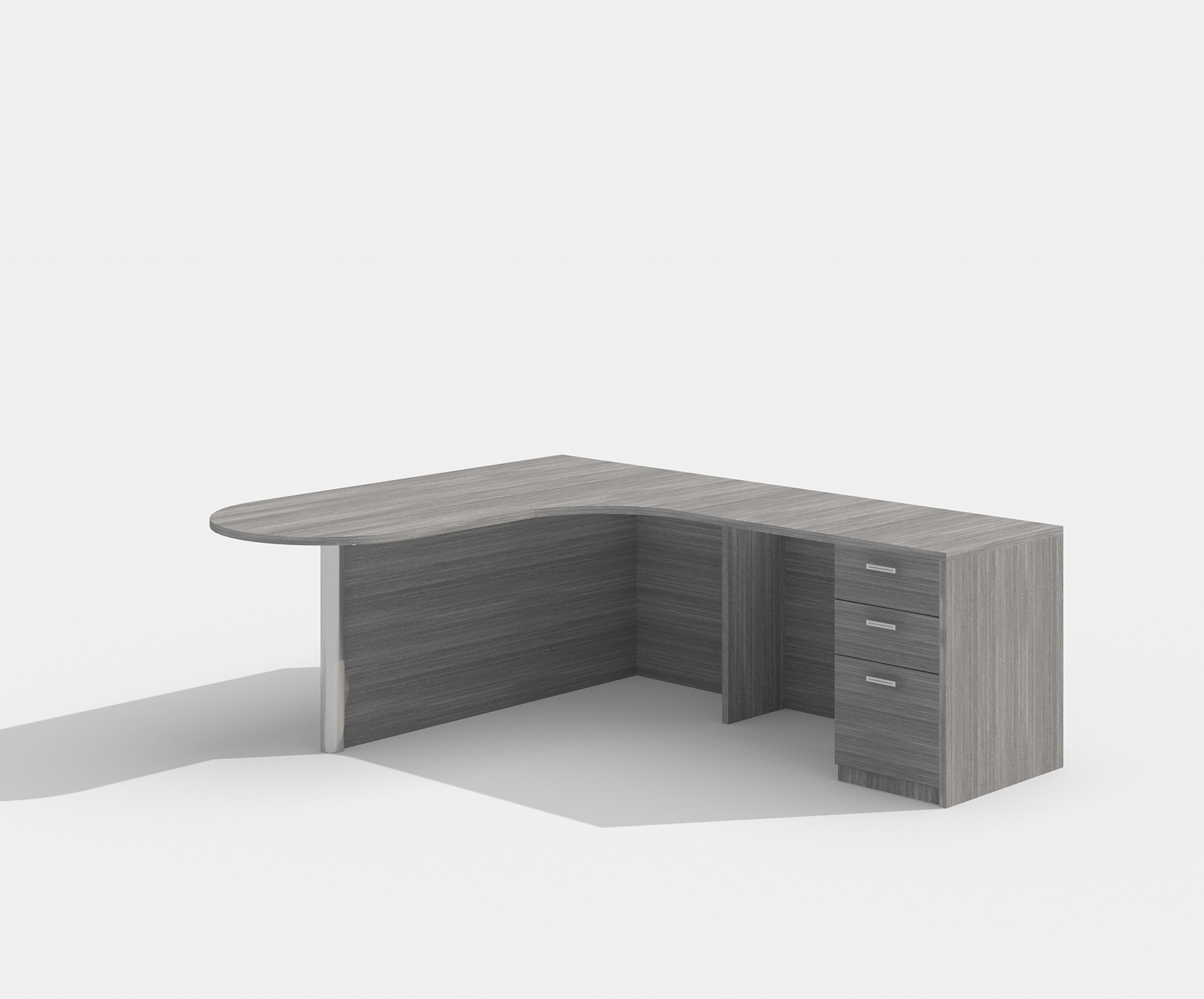 amber peninsula style l-shaped desk with valley gray finish
