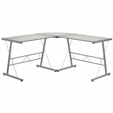 Flash Furniture L Shaped Glass Computer Desk with Silver Frame