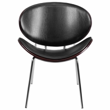 Flash Furniture Mahogany Bentwood Leisure Reception Chair With Black Leather Upholstery