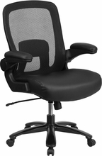 Flash Furniture Mesh Back Big and Tall Chair with Leather Seat
