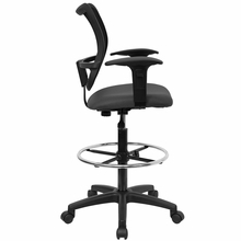 Flash Furniture Mesh Drafting Chair with Arms and Gray Seat