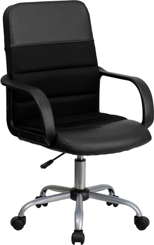 Flash Furniture Mid Back Black Leather and Mesh Office Chair