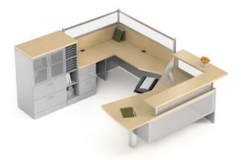 Global Total Office Zira Series Reception Desk Configuration