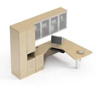 Global Total Office Zira Series Wall Desk Configuration