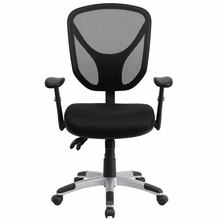 Flash Furniture Mid Back Black Mesh Chair with Triple Paddle Control and Adjustable Arms