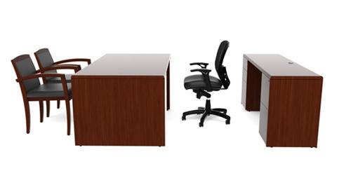 "Cherryman Ruby Collection 66"" Executive Desk and Credenza Set"