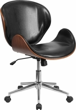 Flash Furniture Mid Back Natural Wood Swivel Conference Chair in Black Leather