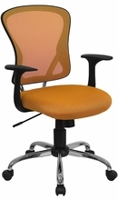 Flash Furniture Mid Back Orange Mesh Back Office Chair with Polished Base