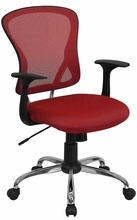 Flash Furniture Mid Back Red Mesh Back Office Chair with Polished Base