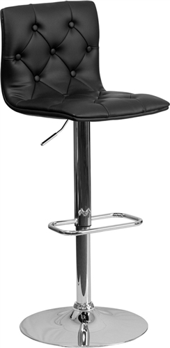 Flash Furniture Modern Black Vinyl Tufted Back Bar Stool