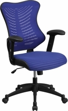 Flash Furniture Modern Blue Mesh Back Office Chair with Adjustable Arms