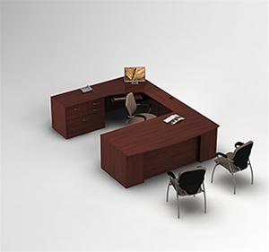 Global Zira Bow Front U Desk with Storage