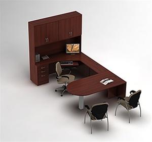 Global Zira Collaborative U-Desk with Storage Hutch