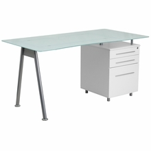 Flash Furniture Modern Computer Desk with Glass Top