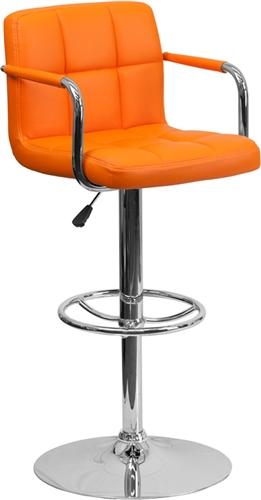 Flash Furniture Modern Orange Vinyl Bar Stool with Arms