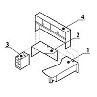 Global Zira Modular L-Desk with Hutch