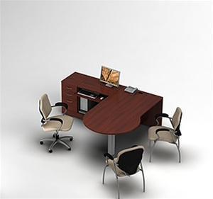 Global Zira P-Island Along-The-Wall Desk