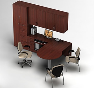 Global Zira P-Island Desk with Wall Mount Hutch and Storage Tower