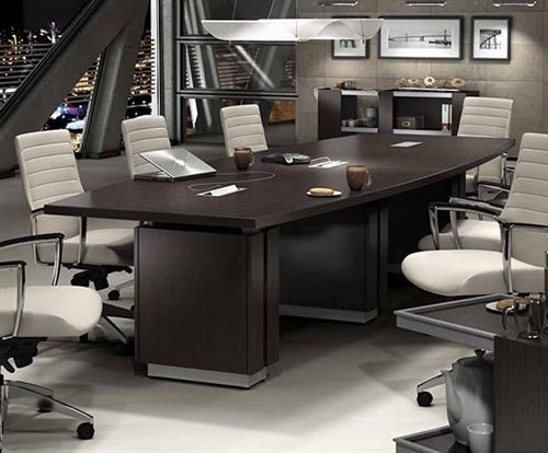 Global Zira Series 12' Boat Shaped Boardroom Table Z48144BE (Available with Power!)