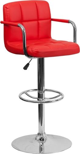 Flash Furniture Modern Red Vinyl Restaurant Bar Stool with Foot Ring