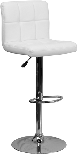Flash Furniture Modern White Vinyl Adjustable Bar Stool with Chrome Base