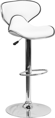Flash Furniture Modern White Vinyl Bar Stool with Adjustable Height