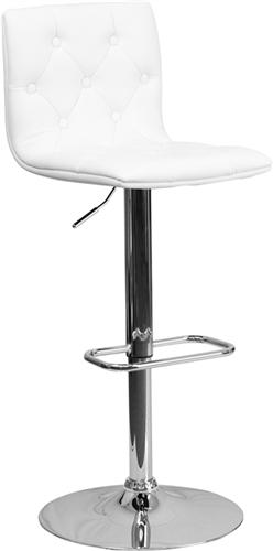 Flash Furniture Modern White Vinyl Tufted Back Bar Stool