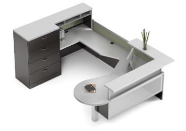 Global Zira Series Contemporary Reception Desk Configuration