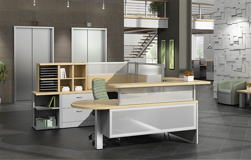 Global Zira Series Custom Two Tone Reception Desk Configuration