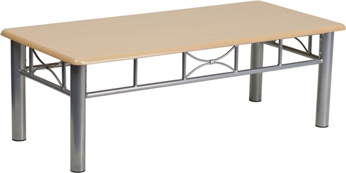 Flash Furniture Natural Laminate Coffee Table with Silver Steel Frame