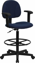 Flash Furniture Navy Blue Drafting Chair with Arms