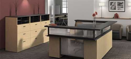 Global Zira Series U Shaped Reception Desk with File Cabinets