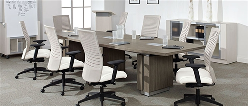 Global Zira Series Z48144BE Conference Table with Absolute Acajou Finish (Available with Power!)