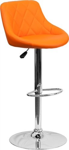 Flash Furniture Orange Vinyl Bucket Seat Pub Stool