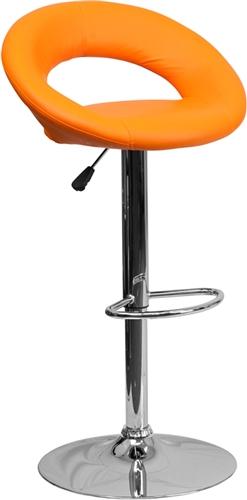 Flash Furniture Orange Vinyl Curved Back Bar Stool