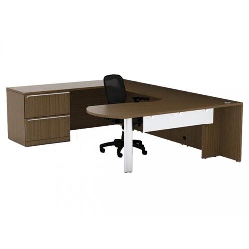 Cherryman VL-726 Verde Arc End U Desk with Lateral File Cabinet