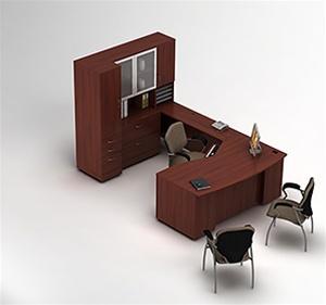 Global Zira U Shaped Workstation with Hutch and Storage
