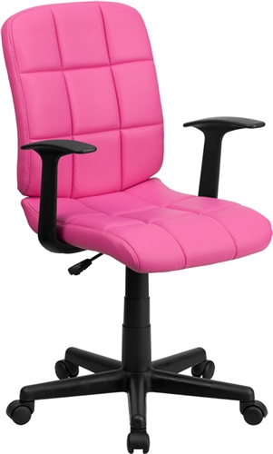 Flash Furniture Pink Vinyl Mid Back Task Chair with Arms