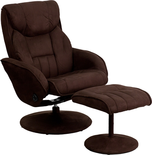 Contemporary Brown Microfiber Recliner and Ottoman Set by Flash Furniture