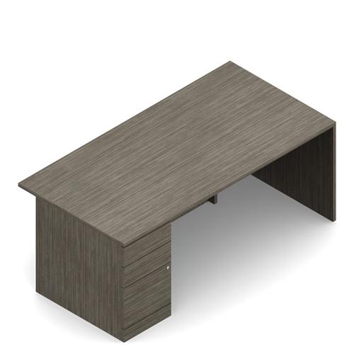 Global Zira Z3666F3L Single Pedestal Executive Desk