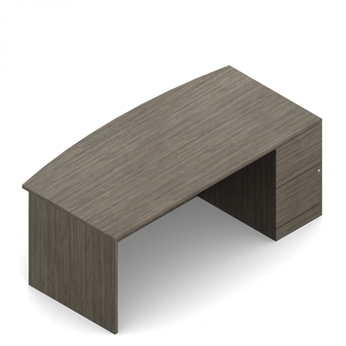 "Global Zira Z3666FB2R 66"" Bow Front Desk with File Pedestal"