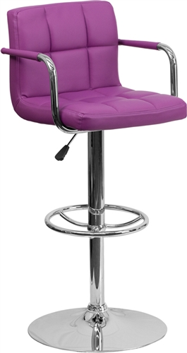 Flash Furniture Purple Vinyl Cafe Bar Stool with Arms