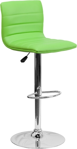 Cool Armless Bar Stool with Green Vinyl Upholstery by Flash Furniture