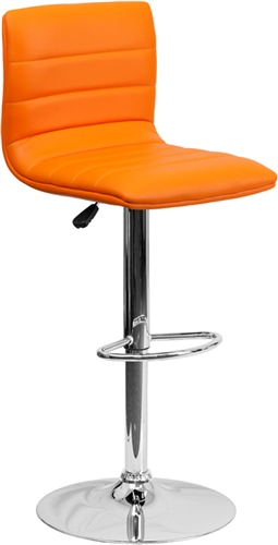 Cool Armless Bar Stool with Orange Vinyl Upholstery by Flash Furniture