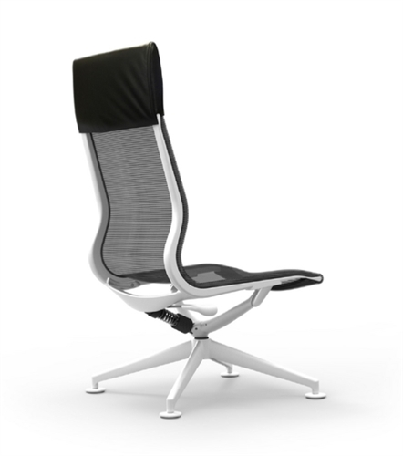 iDesk CUR120 Curva Series High Back Mesh and Leather Lounge Chair