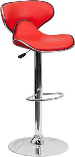 Flash Furniture Red Vinyl Bar Stool with Chrome Base