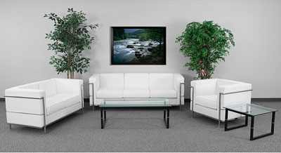 Flash Furniture Regal Series White Leather Reception Seating Set